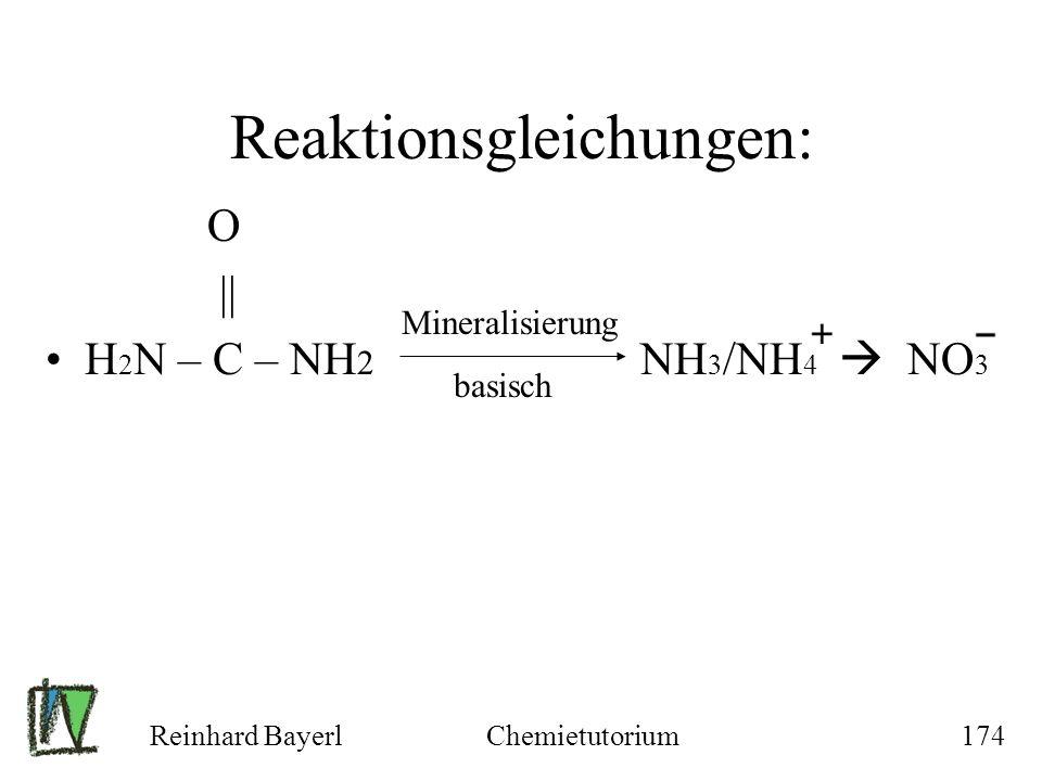 Reaktionsgleichungen: