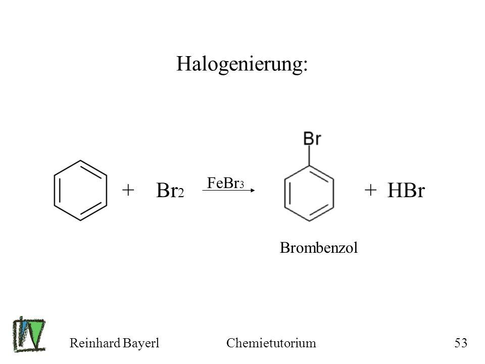Halogenierung: + Br2 FeBr3 + HBr Brombenzol Reinhard Bayerl