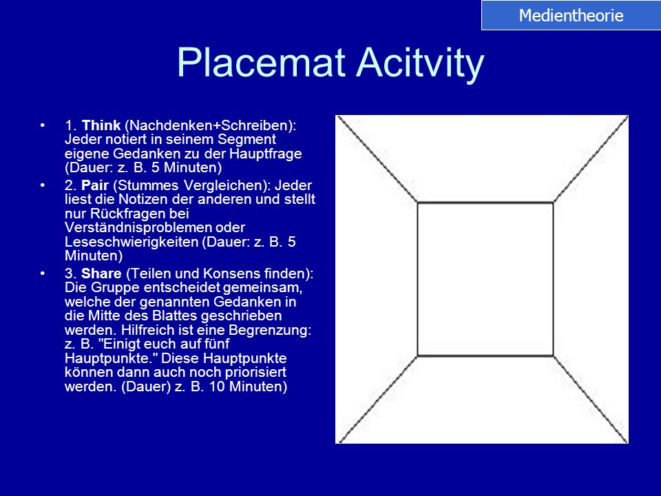 Placemat Acitvity Medientheorie