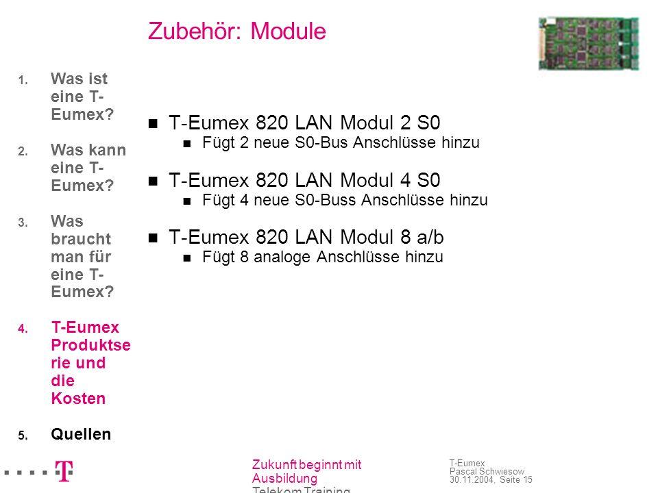Zubehör: Module T-Eumex 820 LAN Modul 2 S0 T-Eumex 820 LAN Modul 4 S0