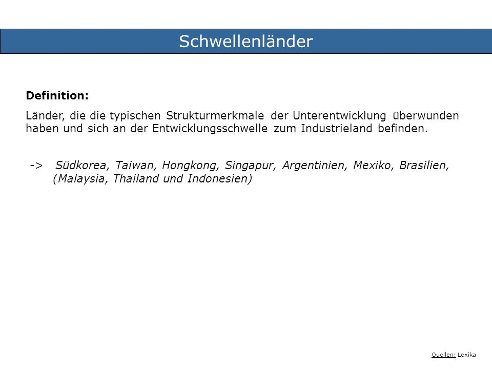Schwellenländer Definition: