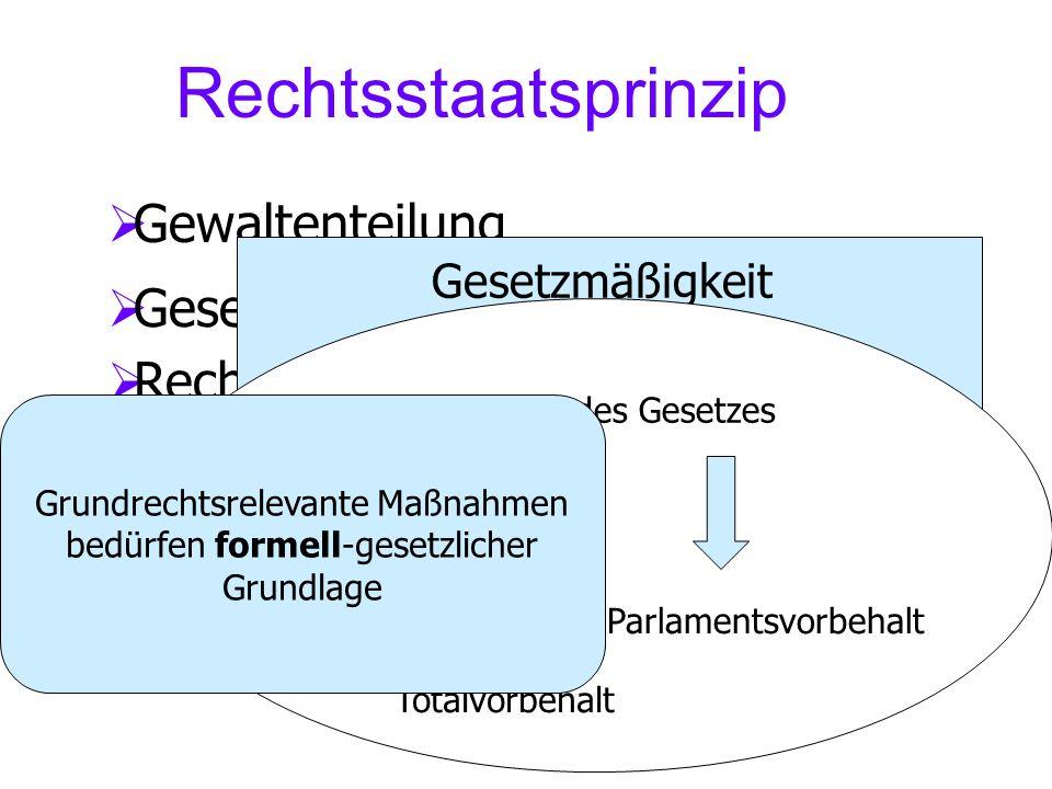Rechtsstaatsprinzip Gewaltenteilung Gesetzmäßigkeit Rechtsschutz