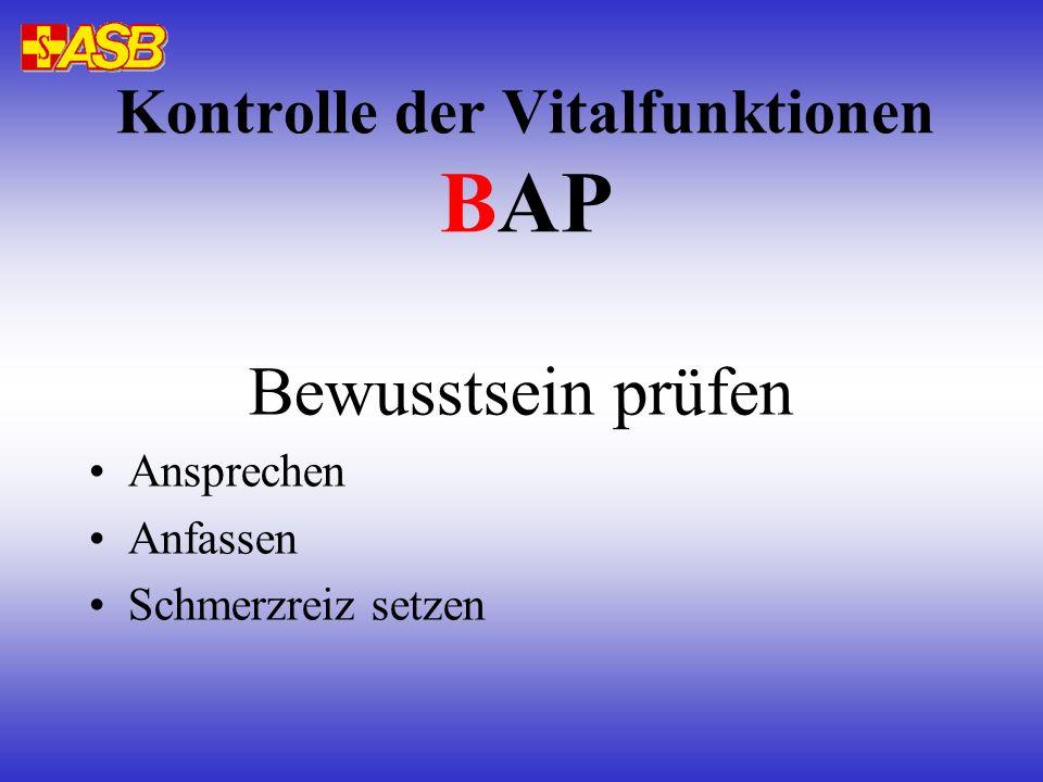 Kontrolle der Vitalfunktionen BAP