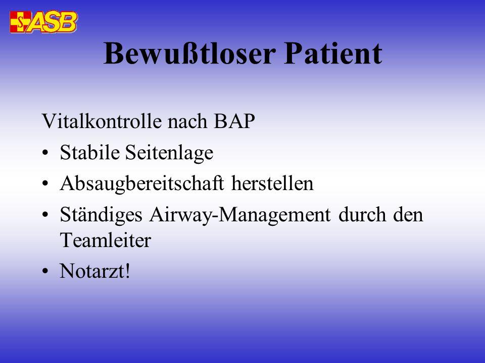 Bewußtloser Patient Vitalkontrolle nach BAP Stabile Seitenlage
