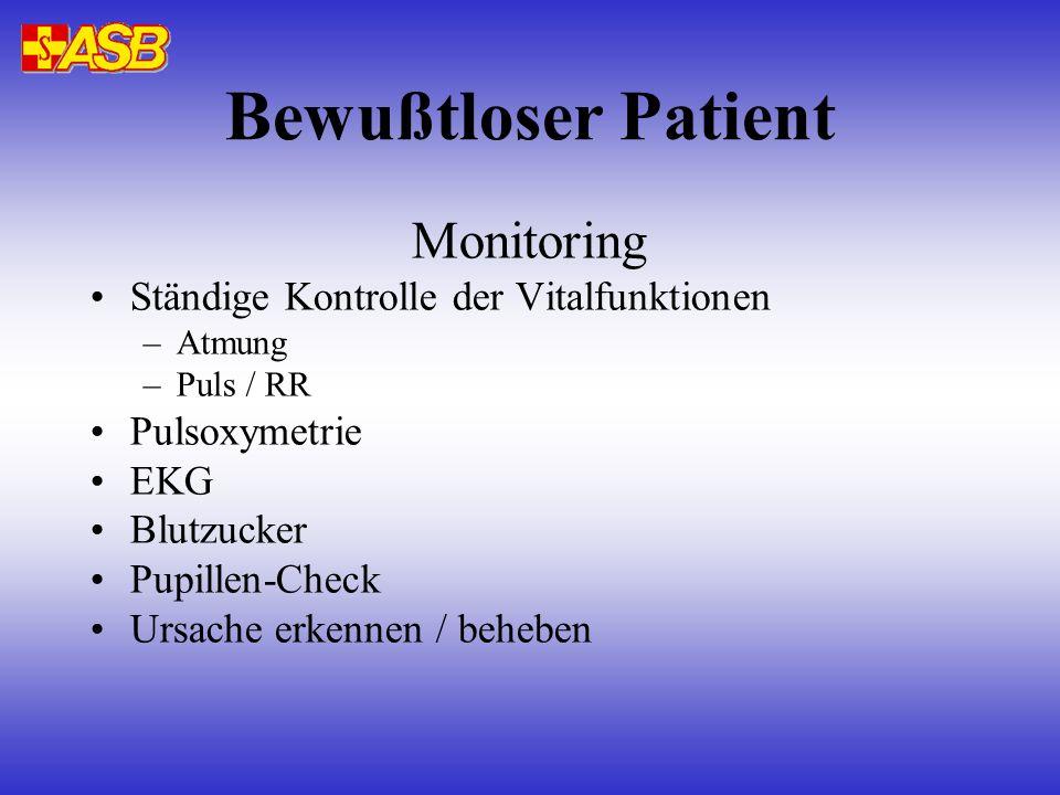 Bewußtloser Patient Monitoring Ständige Kontrolle der Vitalfunktionen