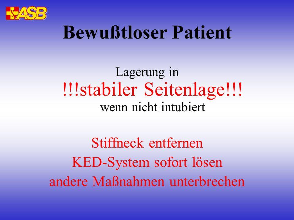 Bewußtloser Patient Stiffneck entfernen KED-System sofort lösen