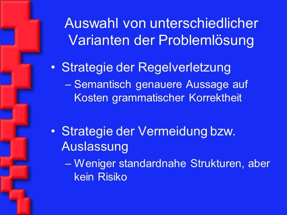 Auswahl von unterschiedlicher Varianten der Problemlösung