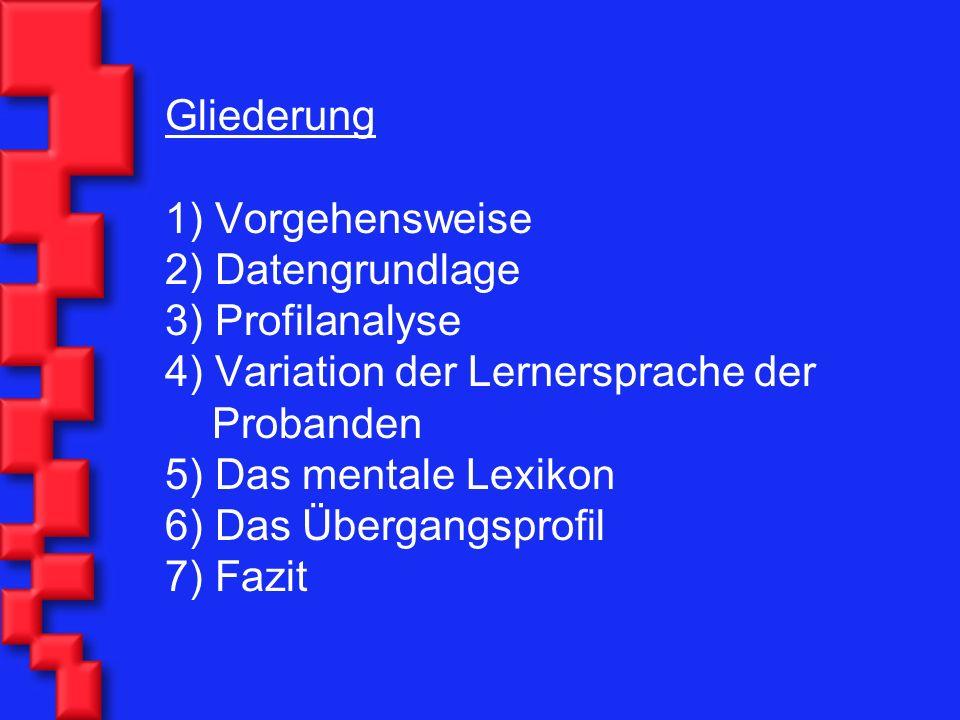 Gliederung 1) Vorgehensweise 2) Datengrundlage 3) Profilanalyse 4) Variation der Lernersprache der Probanden 5) Das mentale Lexikon 6) Das Übergangsprofil 7) Fazit