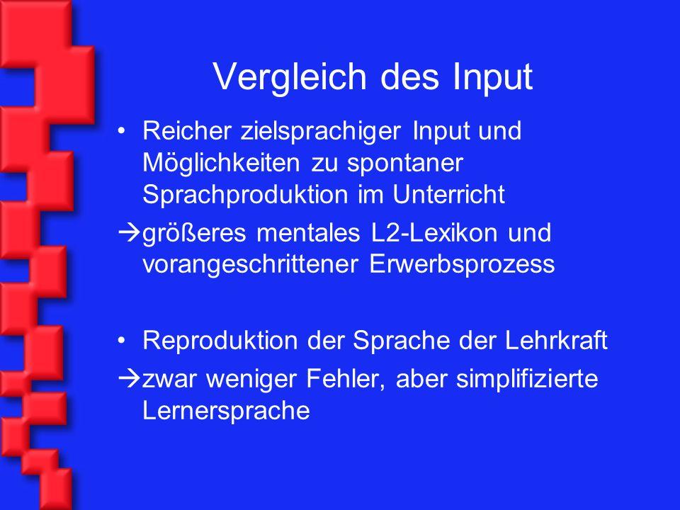 Vergleich des Input Reicher zielsprachiger Input und Möglichkeiten zu spontaner Sprachproduktion im Unterricht.