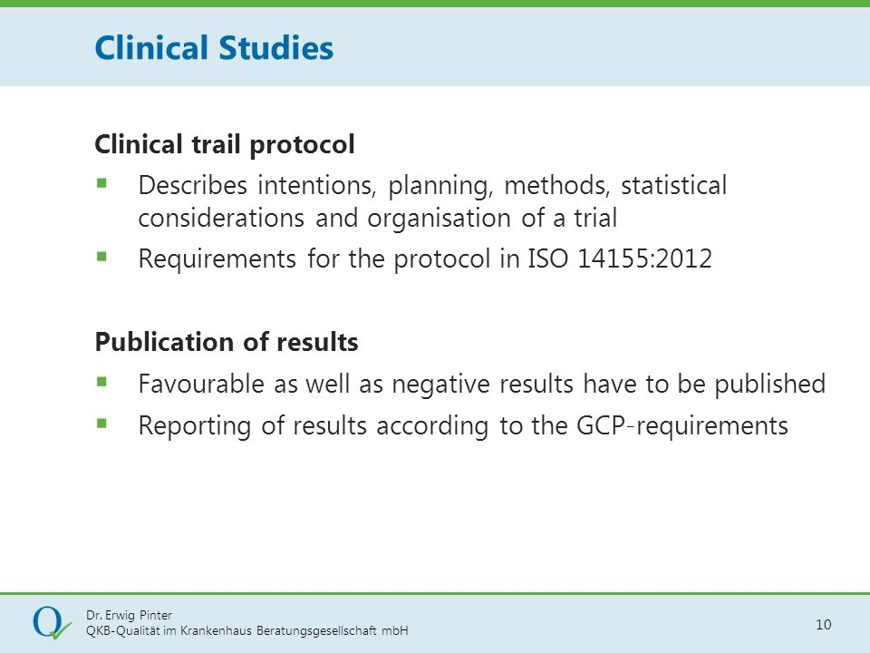Clinical Studies Clinical trail protocol