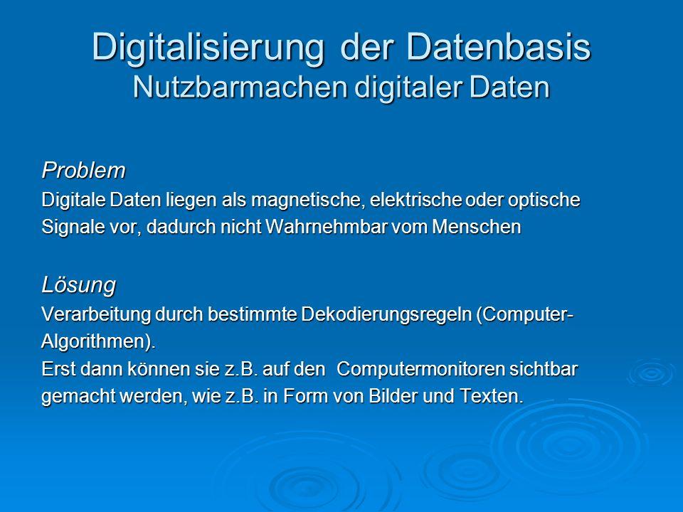Digitalisierung der Datenbasis Nutzbarmachen digitaler Daten