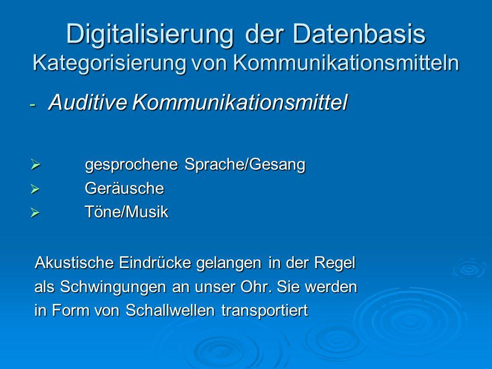 Digitalisierung der Datenbasis Kategorisierung von Kommunikationsmitteln