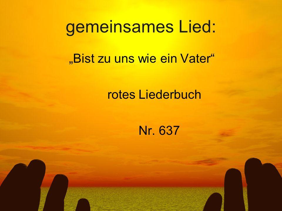 """gemeinsames Lied: """"Bist zu uns wie ein Vater rotes Liederbuch Nr. 637"""