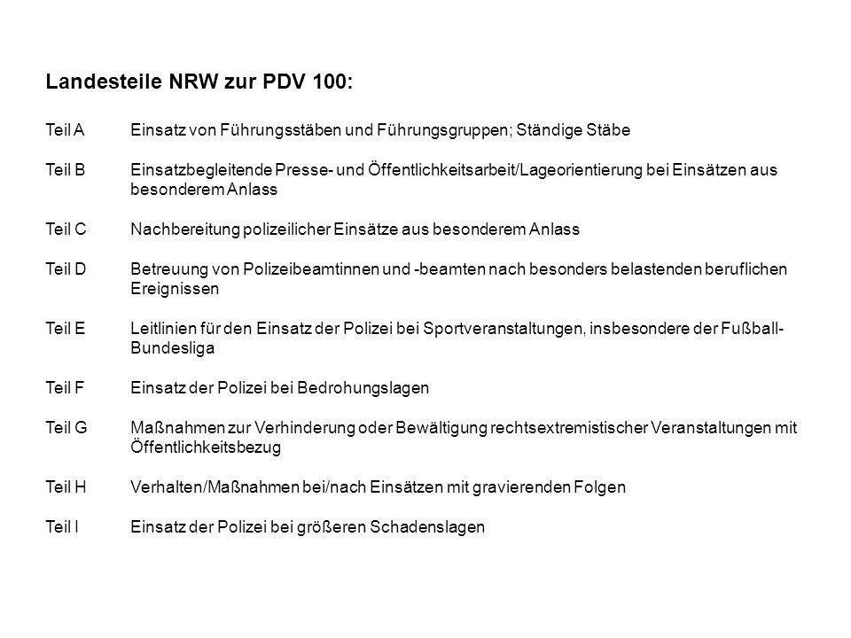 Landesteile NRW zur PDV 100:
