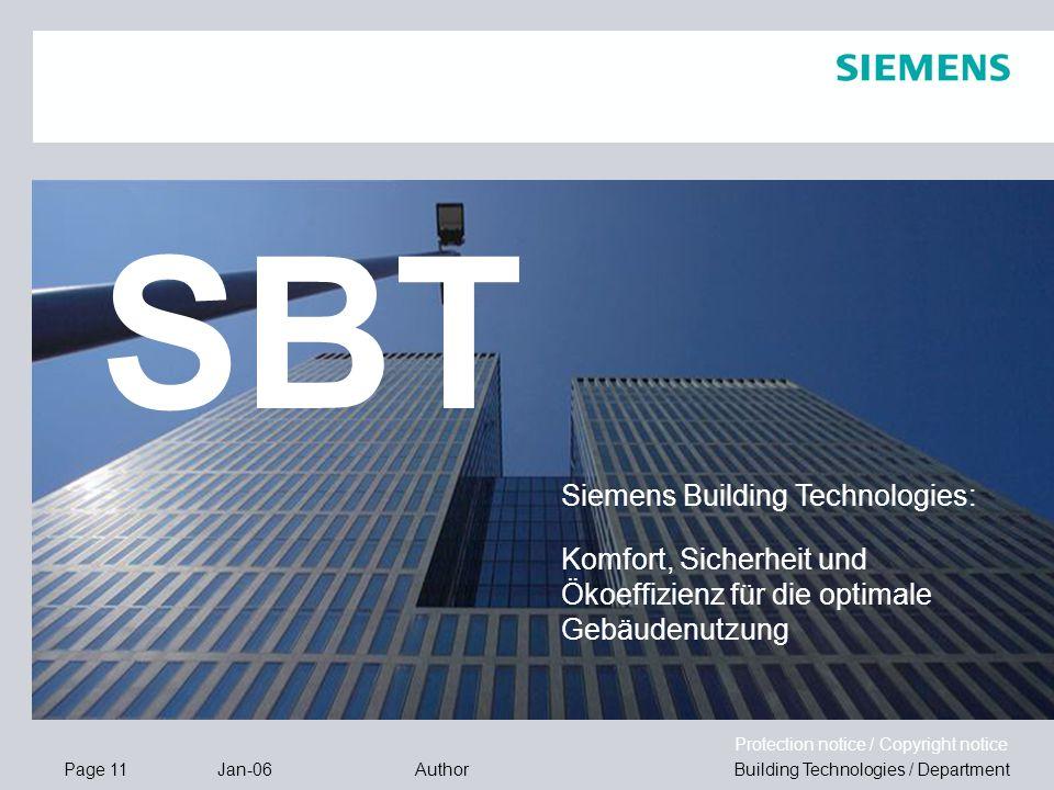 SBT Siemens Building Technologies: