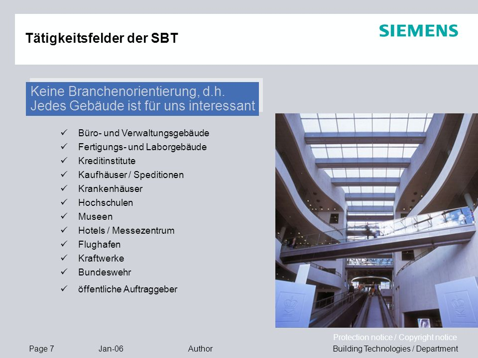 Tätigkeitsfelder der SBT