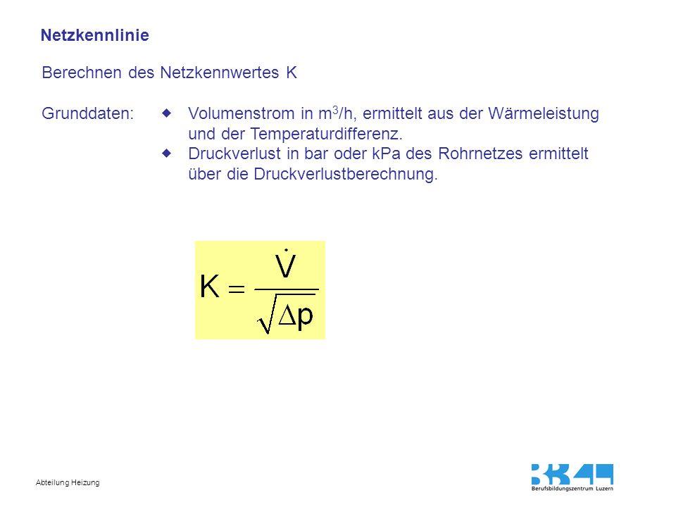 Netzkennlinie Berechnen des Netzkennwertes K. Grunddaten:  Volumenstrom in m3/h, ermittelt aus der Wärmeleistung und der Temperaturdifferenz.