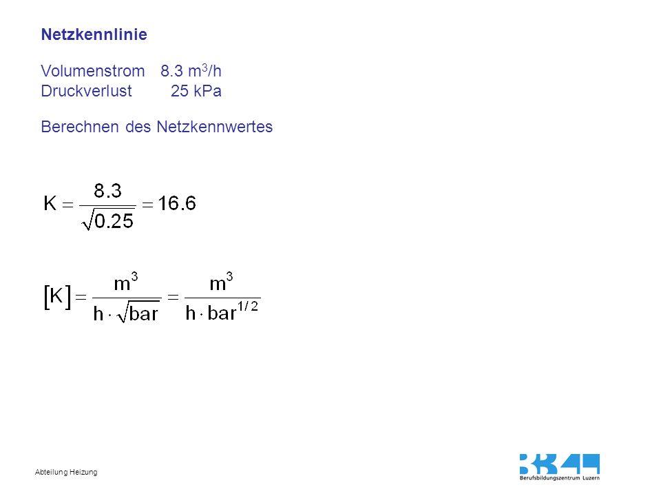 Netzkennlinie Volumenstrom 8.3 m3/h Druckverlust 25 kPa Berechnen des Netzkennwertes