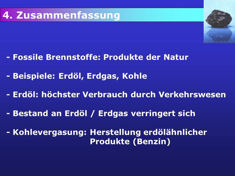 4. Zusammenfassung - Fossile Brennstoffe: Produkte der Natur