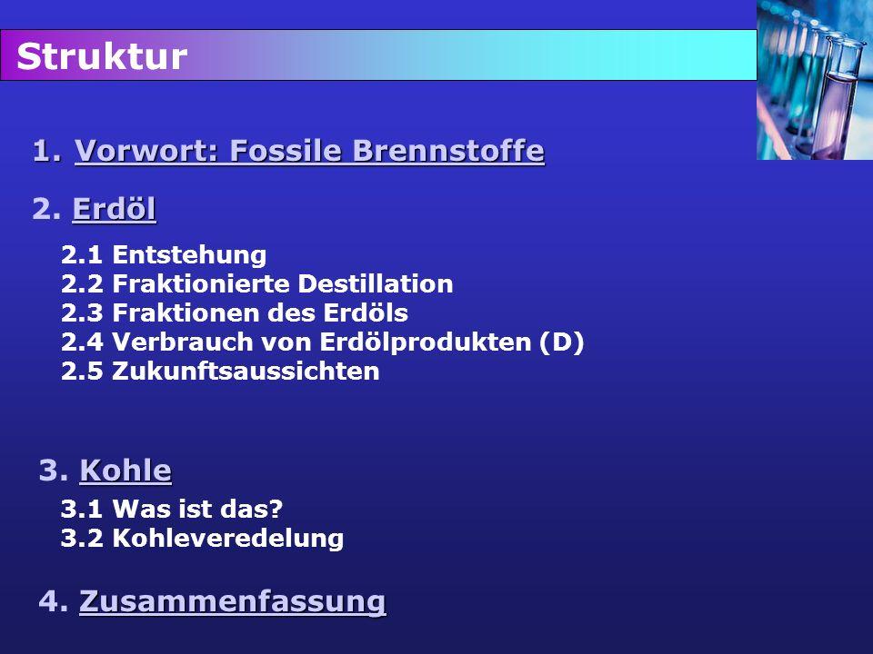 Struktur Vorwort: Fossile Brennstoffe 2. Erdöl 3. Kohle