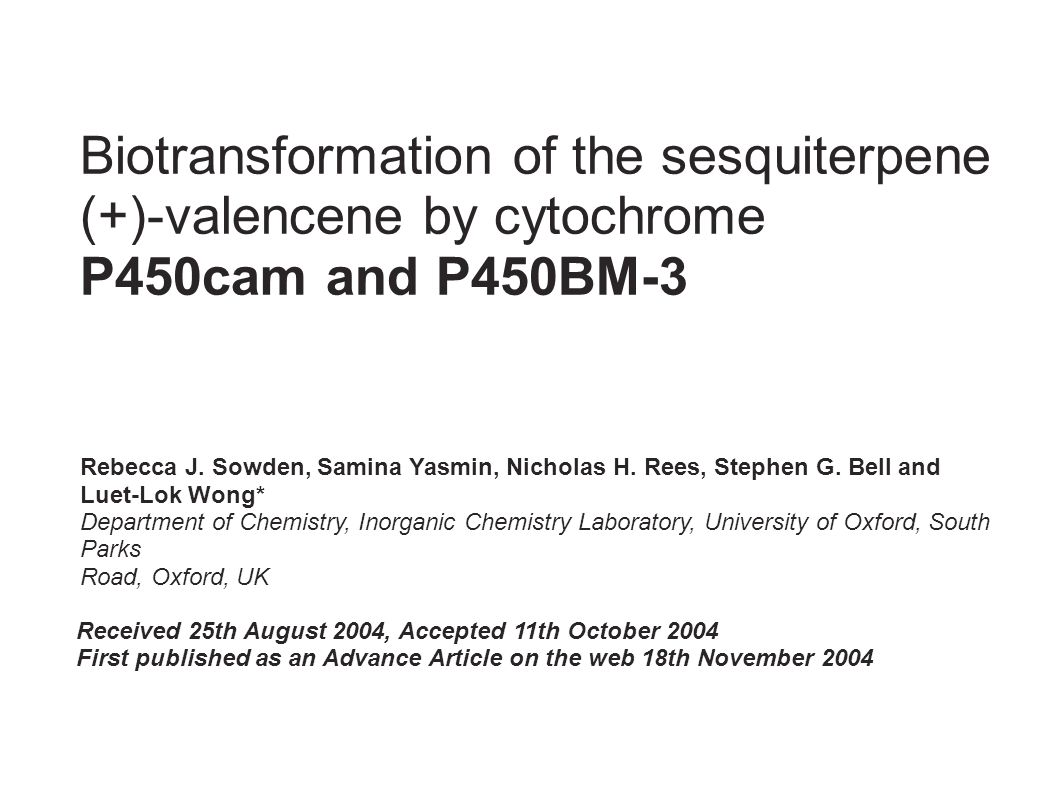 Biotransformation of the sesquiterpene (+)-valencene by cytochrome P450cam and P450BM-3
