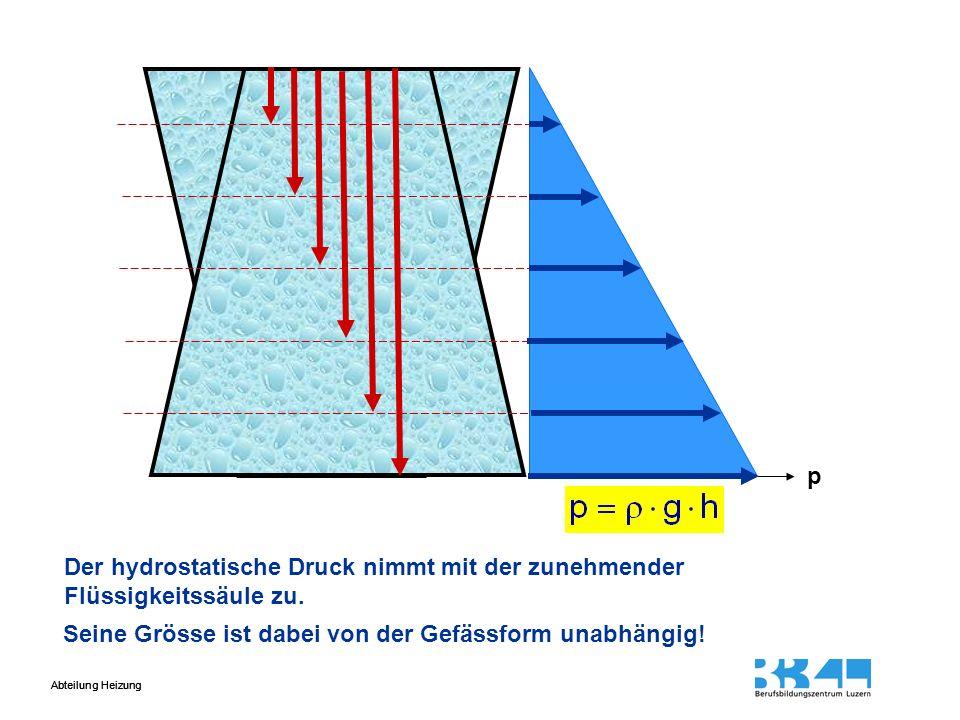 p Der hydrostatische Druck nimmt mit der zunehmender Flüssigkeitssäule zu.