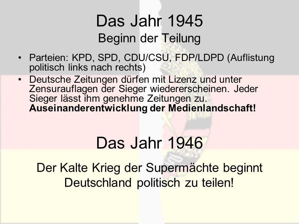 Das Jahr 1945 Beginn der Teilung