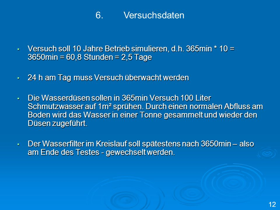 6. Versuchsdaten Versuch soll 10 Jahre Betrieb simulieren, d.h. 365min * 10 = 3650min = 60,8 Stunden = 2,5 Tage.