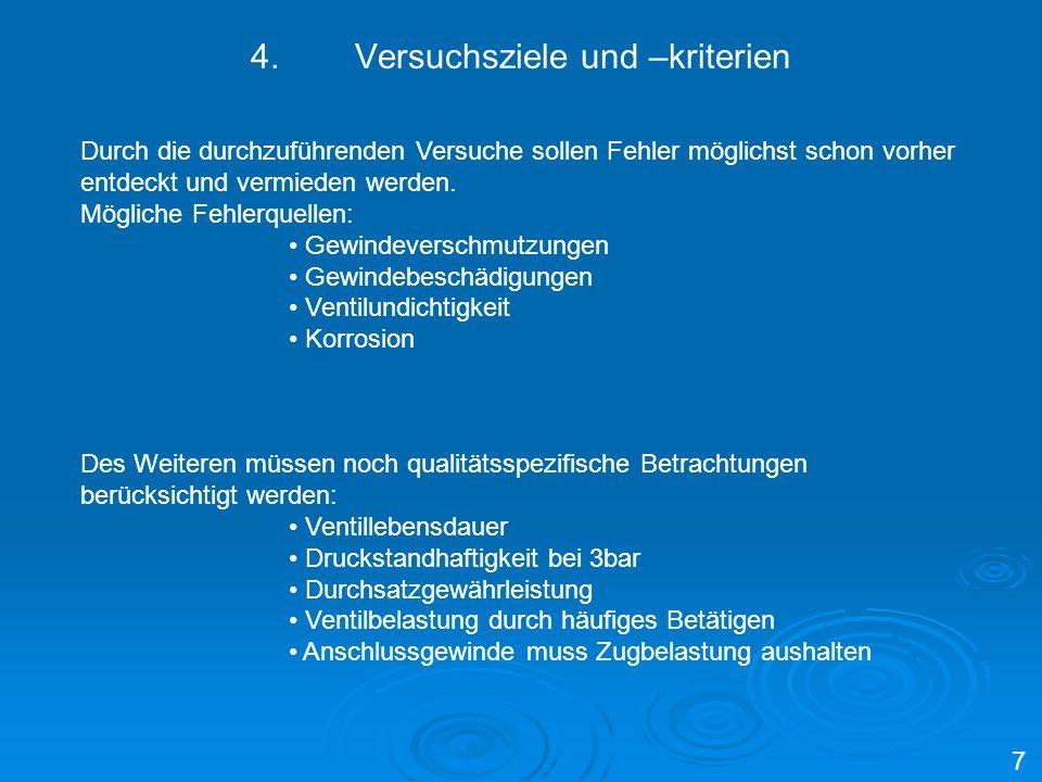 4. Versuchsziele und –kriterien
