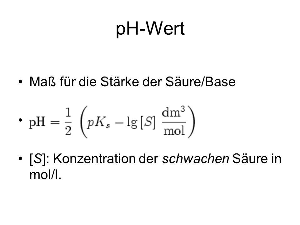pH-Wert Maß für die Stärke der Säure/Base