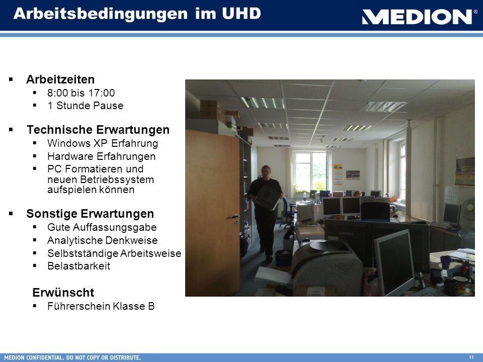 Arbeitsbedingungen im UHD