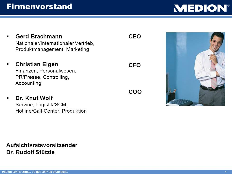 Firmenvorstand Gerd Brachmann Nationaler/Internationaler Vertrieb, Produktmanagement, Marketing.
