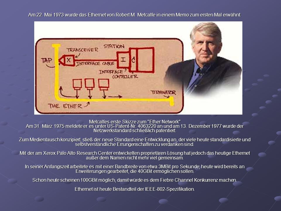 Am 22. Mai 1973 wurde das Ethernet von Robert M