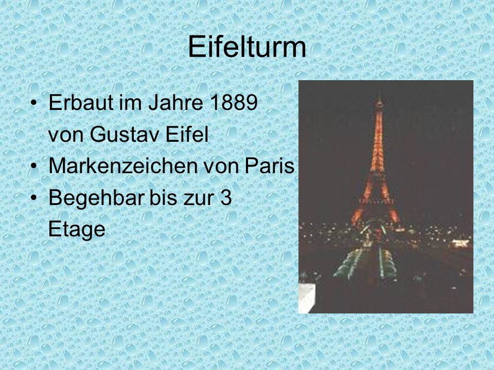Eifelturm Erbaut im Jahre 1889 von Gustav Eifel