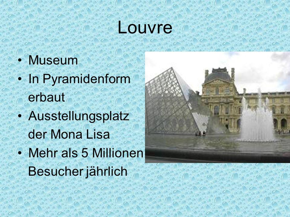 Louvre Museum In Pyramidenform erbaut Ausstellungsplatz der Mona Lisa