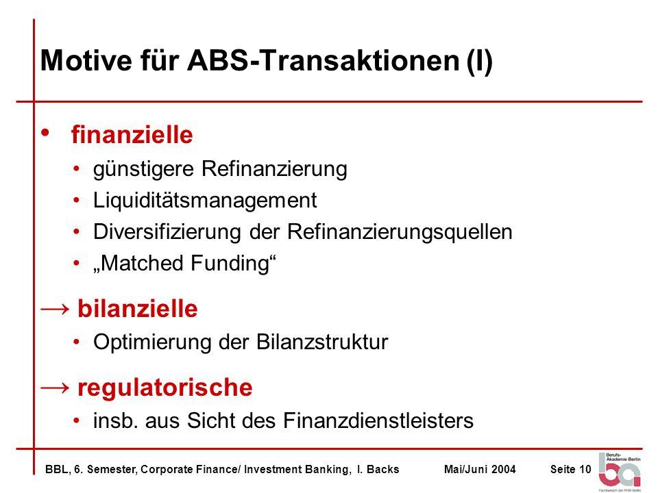 Motive für ABS-Transaktionen (I)