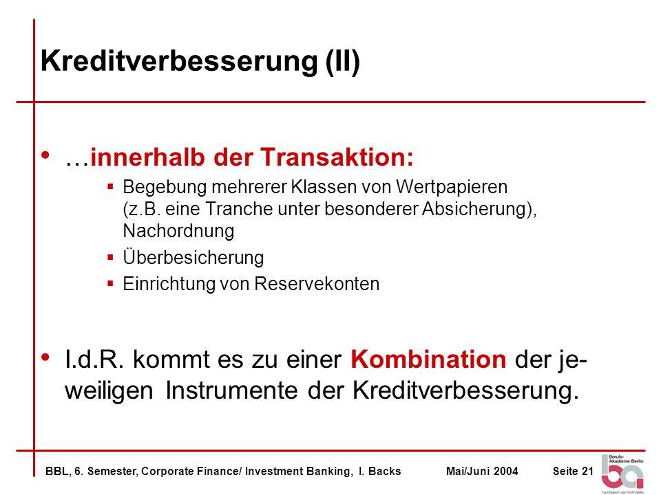 Kreditverbesserung (II)