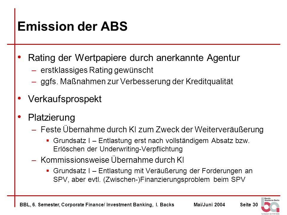 Emission der ABS Rating der Wertpapiere durch anerkannte Agentur