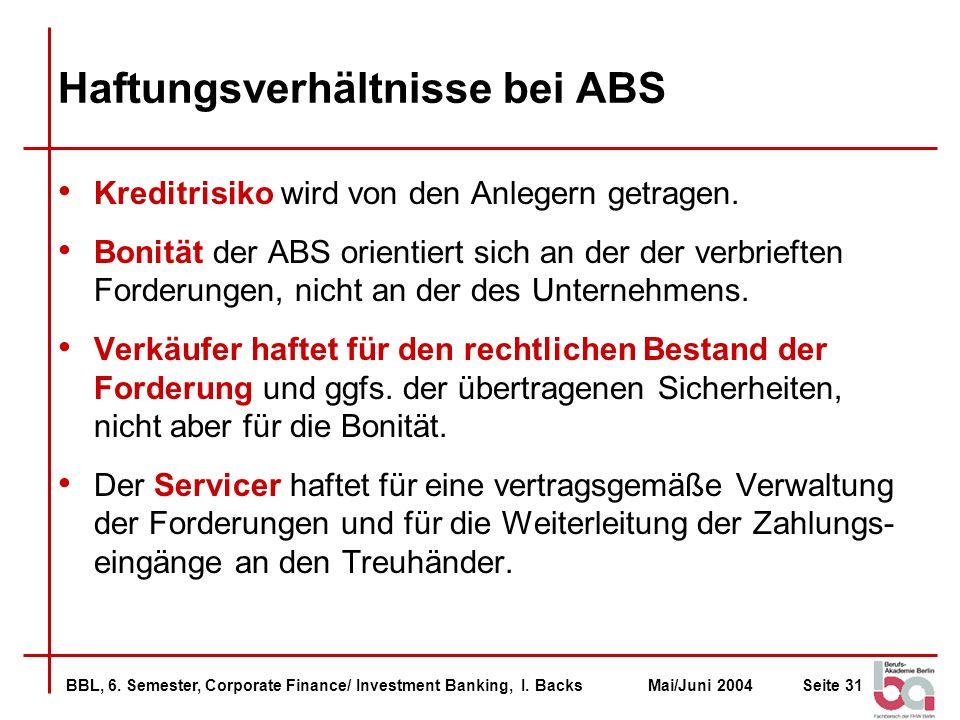 Haftungsverhältnisse bei ABS