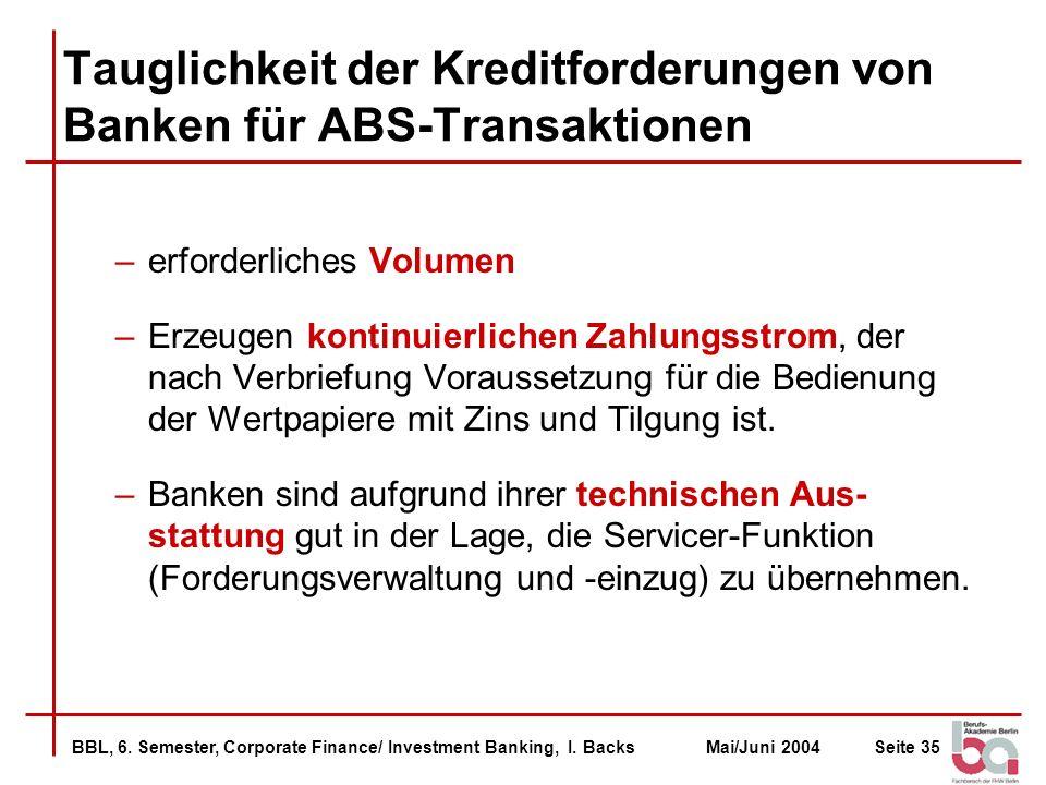 Tauglichkeit der Kreditforderungen von Banken für ABS-Transaktionen