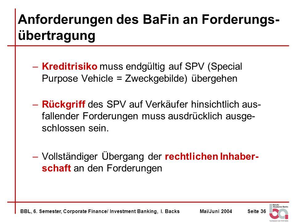 Anforderungen des BaFin an Forderungs-übertragung