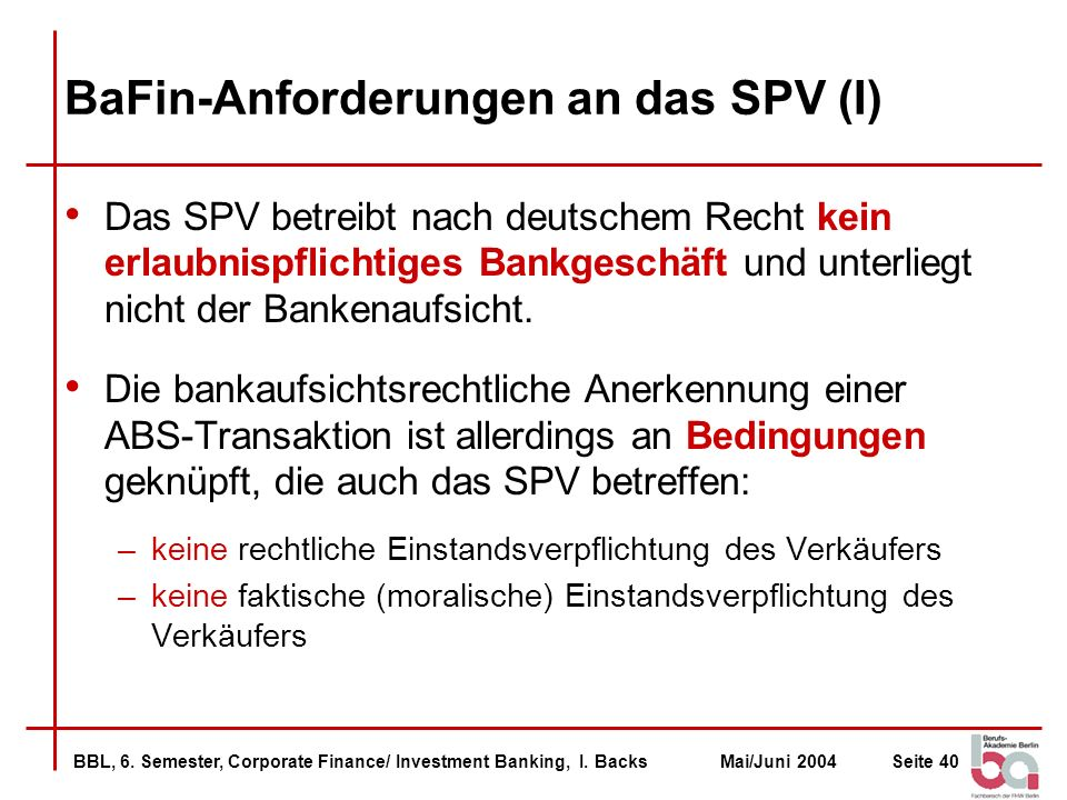 BaFin-Anforderungen an das SPV (I)