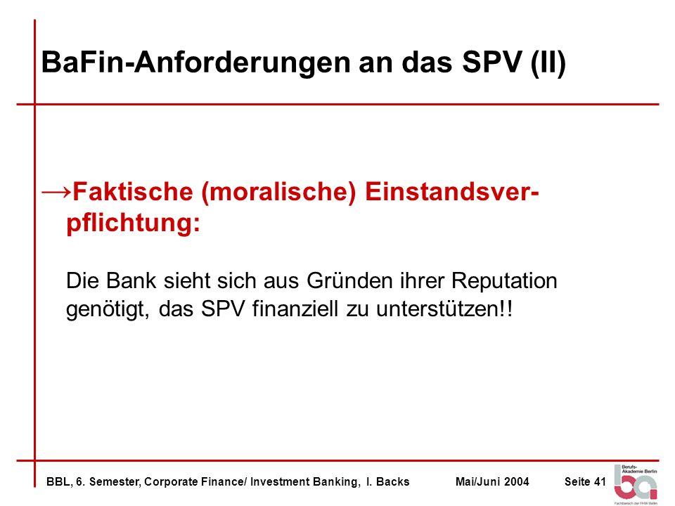 BaFin-Anforderungen an das SPV (II)