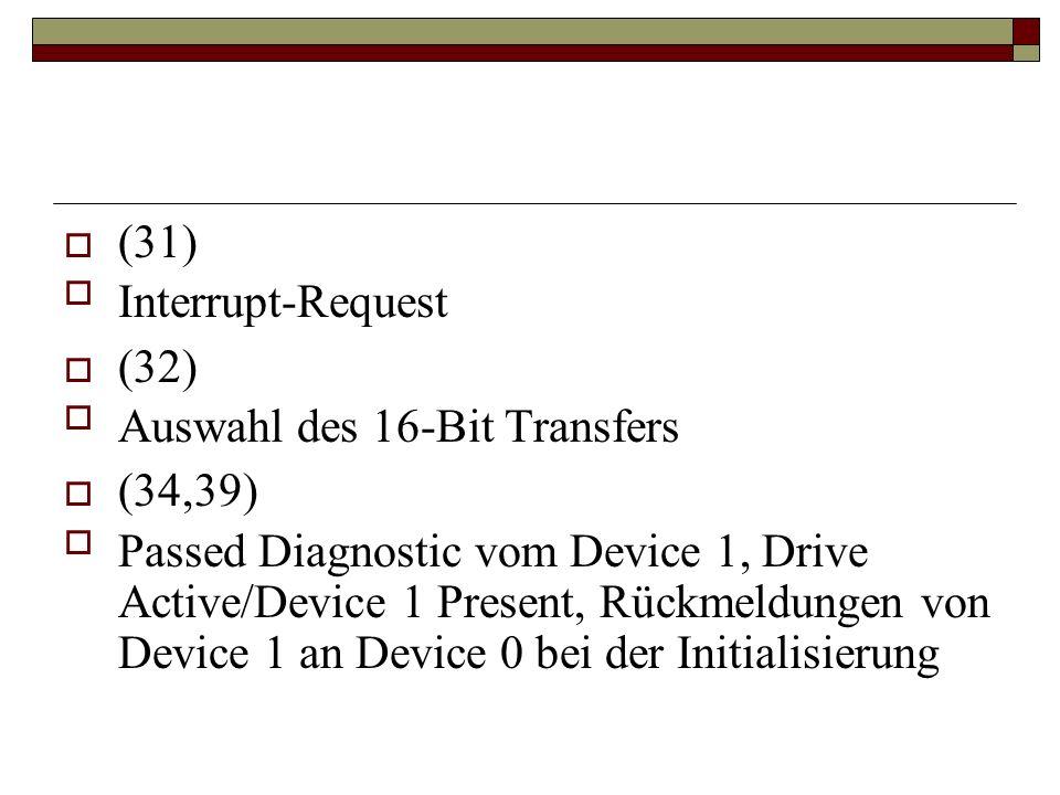 (31) Interrupt-Request. (32) Auswahl des 16-Bit Transfers. (34,39)