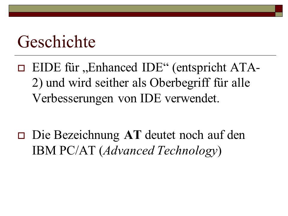 """Geschichte EIDE für """"Enhanced IDE (entspricht ATA-2) und wird seither als Oberbegriff für alle Verbesserungen von IDE verwendet."""