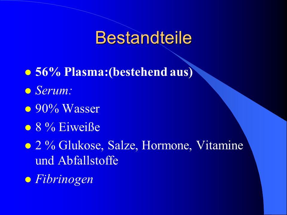 Bestandteile 56% Plasma:(bestehend aus) Serum: 90% Wasser 8 % Eiweiße