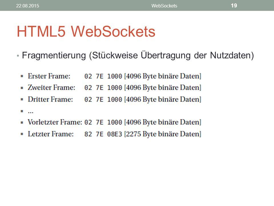 HTML5 WebSockets Fragmentierung (Stückweise Übertragung der Nutzdaten)
