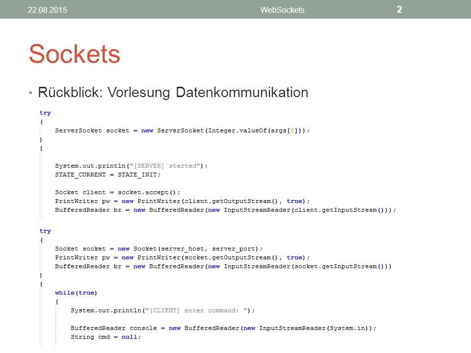 Sockets Rückblick: Vorlesung Datenkommunikation 2 21.04.2017