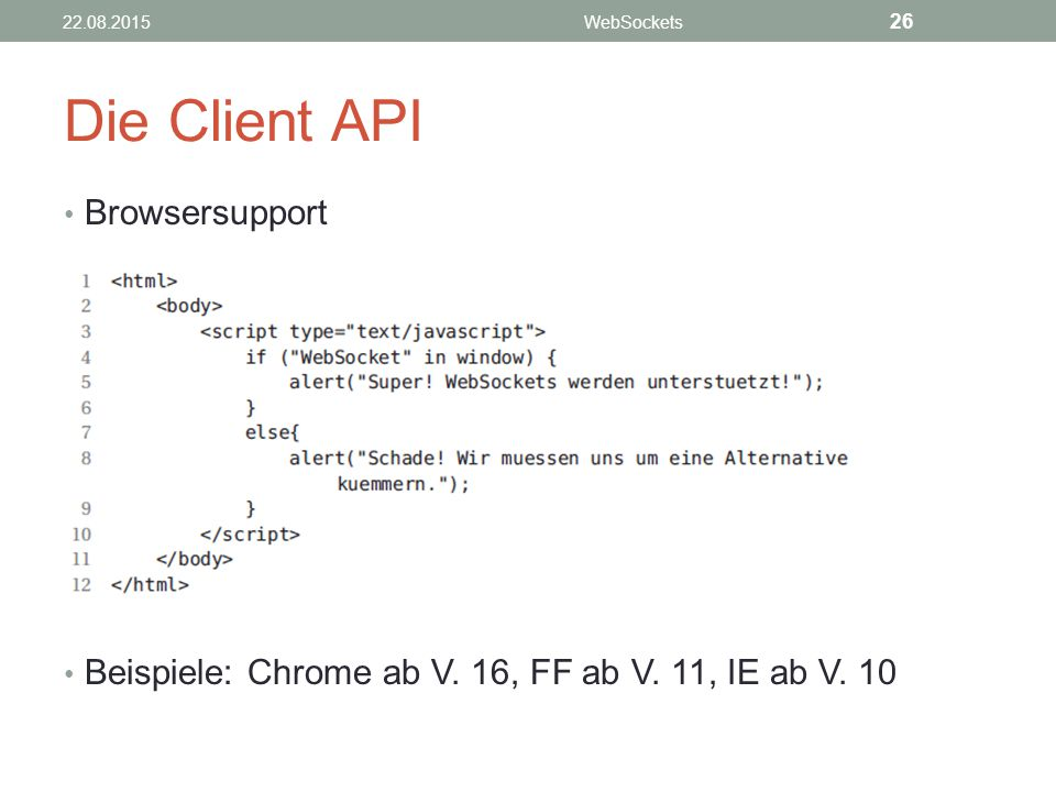 Die Client API Browsersupport