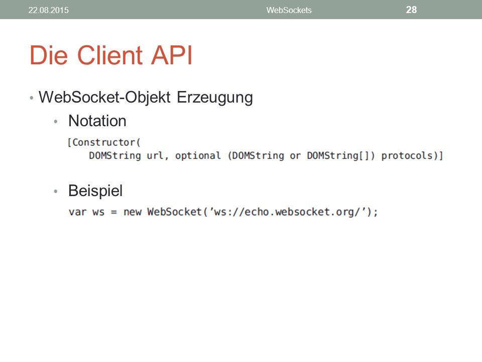 Die Client API WebSocket-Objekt Erzeugung Notation Beispiel 28